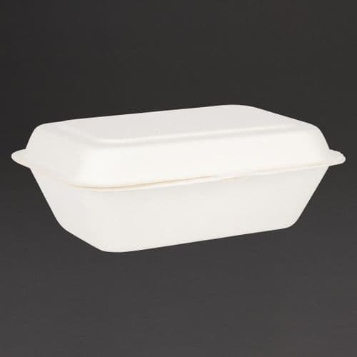 Fiesta Green Compostable Bagasse Hinged Food Containers 182mm